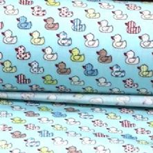 40% OFF Cotton Little Blue Duck Print Fabric x 0.5m